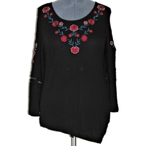 NY Collection Top Black Red Blue Roses XL
